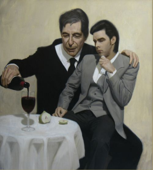 Leonard Cohen consoles Nick Cave Painting by Ben Smith